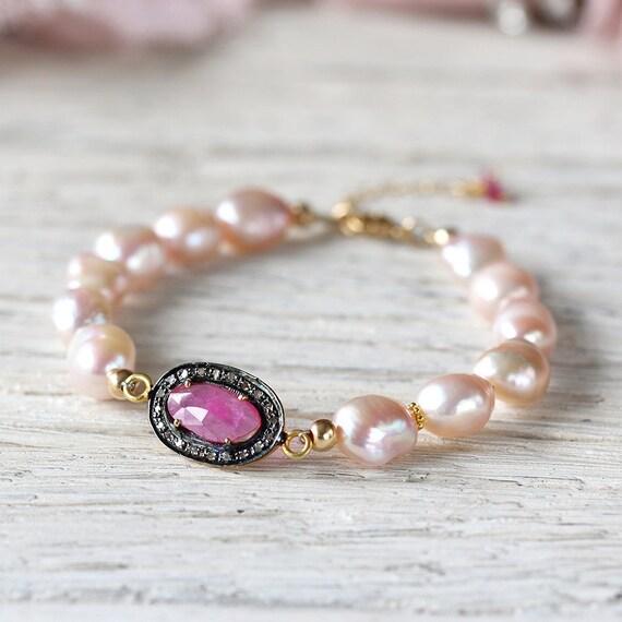 Ruby Pearl Bracelet - Diamond Pave Bracelet