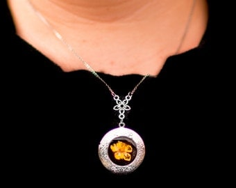 Real Pressed Buttercup Flower Eco Resin Silver Locket