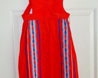 Vintage Apron Cotton Red Bib Pinafore Apron Rick Rack Small