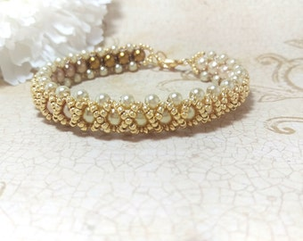 The Amanda- Pale Gold to Bronze Swarovski Pearl Braided Bracelet with Gold Metallic Seed Bead Overlay