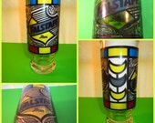 Vintage 1970s Retro Stained Glass Color Barware Drink Beer Falstaff