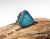 RESERVED Hawaiian Kauai Vibrant Rare Blue Beach Glass Set in 925 Sterling Silver Handcrafted Ring - Size 7