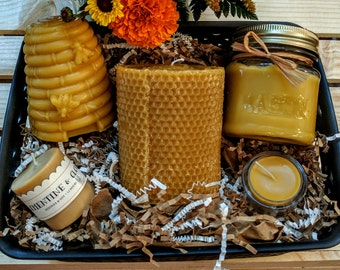 Pure and Natural Beeswax Candles - GIFT BASKET OF 5
