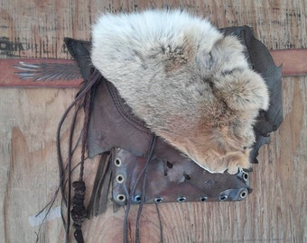 """HOLSTER Hip, *Recycled/Vintage Leathers,* Thigh Pouch w/FUR, Alternative to Purse, Sample Sold, 1 of kinds, make """"something similar"""""""