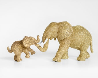 Mama and Baby Elephant Set for Safari Baby Showers, Jungle Gold Glitters Critter. New Mom Nursery Decor, Birthday Party Table Decor Keepsake