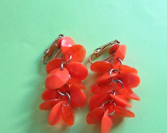 Mod 1960's Earrings Hot Orange Faceted Lucite Cha Cha Clip Ons Clipons Retro Party Vintage Costume Jewelry MoonlightMartini