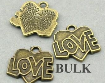 Love Heart Charms BULK order Antique Bronze 30pcs zinc alloy pendant beads 17X17mm CM0417B