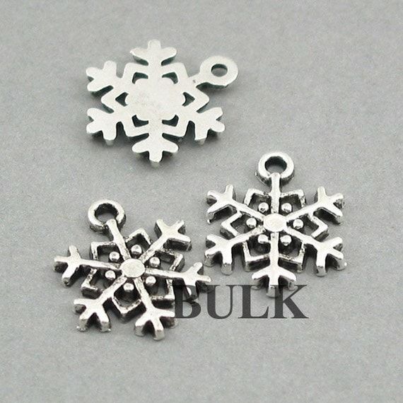 snowflake charms bulk order antique silver 30pcs zinc alloy
