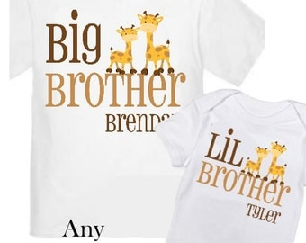 2 Big Brother Giraffe Shirts Set Siblings Little Brother T-shirts