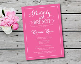 Champagne Brunch Invitation,  Bridal Shower Invitation, Brunch and Bubbly Invitation, Bridal Shower Invite, printable, BUBBLY