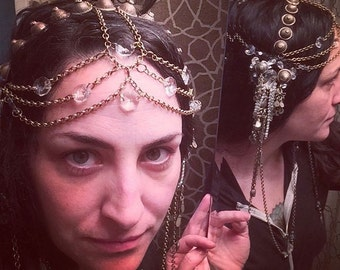 Art Nouveau Chain Headdress- Brass, Crystal and Turkoman Tribal Fusion Bellydance or Festival Headpiece