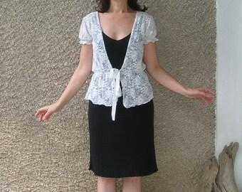 Vintage white LACE top vest, size S