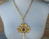 Giant Skeleton Key Gold Tone Necklace