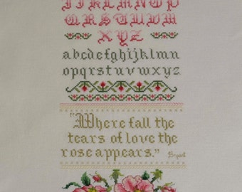 Unframed Completed Cross Stitch Wall Art Rose Sampler