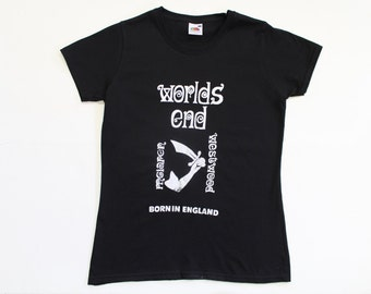 Worlds End-Kings Road- London -Punk Tshirt - Black fitted tee Westwood -McLaren-Born in England-Vintage -petite fitted