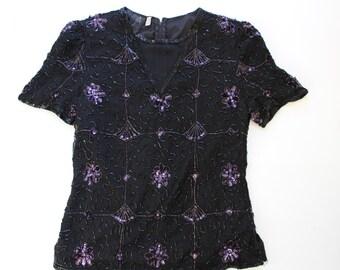 Vintage  Sequin Top -Pure Silk  Heavily Embellished Beaded Tee-Glam - purple black floral sequinned tee- loose slouchy -Medium