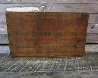 Antique Wood Crate Western Cartridge 12 Gauge Shotgun Shot Gun Ammunition Crate Hunting Old Ammo Wood Box Rustic Farm Primitive Vintage vtg