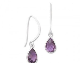 Sterling Silver and AMETHYST Pear Dangle Drop Wire Earrings