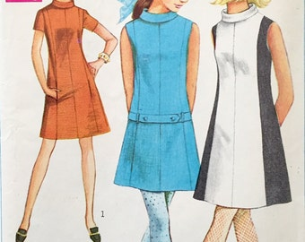 "Vintage 1968 Simplicity Misses' Dress Pattern 7587 Size 10 (32 1/2"" Bust) UNCUT"