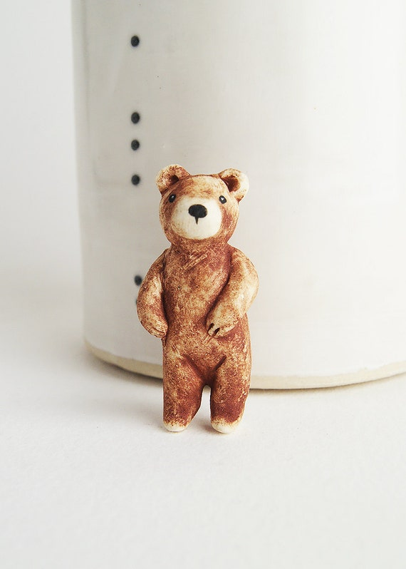 hand-painted porcelain bear pin - brown bear jewelry