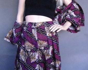 batik, 2 pce set, batik suit, purple outfit, top and short set, vintage summer outfit