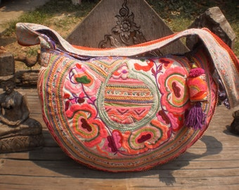 Half Moon Vintage Embroidered Textile Bag