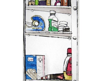 medicine cabinet colourful archival print