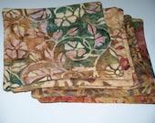 Quilted  Coasters - Batiks - Floral Prints -  Set of 6 - Reversible