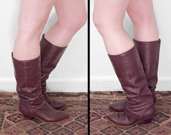 1970s FRYE Boots US Women's 5.5 to 6 Russet Red Knee Mid Calf
