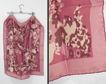 MAUVE Floral Scarf 1970s Silk Peck + Peck Italian Pink Brown 26 x 26