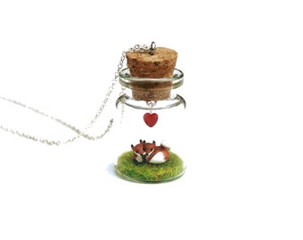 Fox Valentine Necklace - miniature spring fox couple curled up together in a tiny glass bottle, 16 inch silver plated chain Valentine's Day