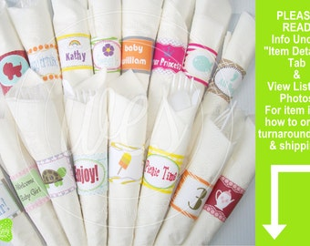 Custom Napkin Rings - Personalized Napkin Rings - Custom Party Decorations - Available As a Digital File or Printed and Shipped