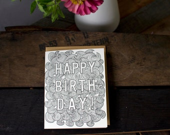 Birthday Waves Letterpress Card - Color Yourself!