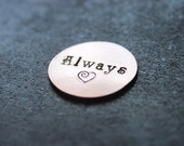 Always Copper Pocket Charm/Coin with Spiral Heart. Wedding, Engagement, Anniversary, True Love, Soulmate, Best Friend, Forever, Valentine
