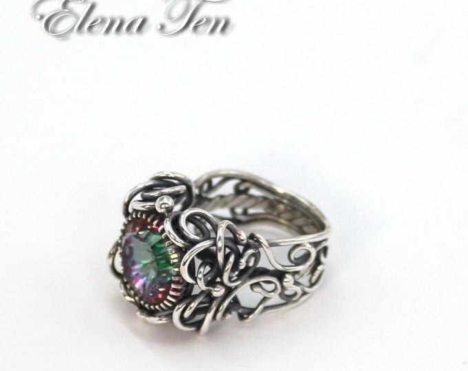 Mystic Topaz Ring Topaz ring Mystic Topaz Jewelry Solitaire Ring Silver Solitaire Ring Silver Rings 925 silver Silver Jewelry Rusteam