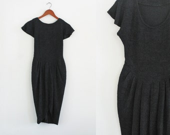 Vintage 1960s Little Black Dress Vintage Tulip Dress Black Tulip Dress Black Wiggle Dress Black High Low Dress Stretch Small