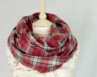 Red Plaid Infinity Scarf, Red Flannel Plaid Scarf, Girlfriend Gift Wife Gift, Circle Scarf Tartan Plaid Scarf, Womens Scarves Gift for Her