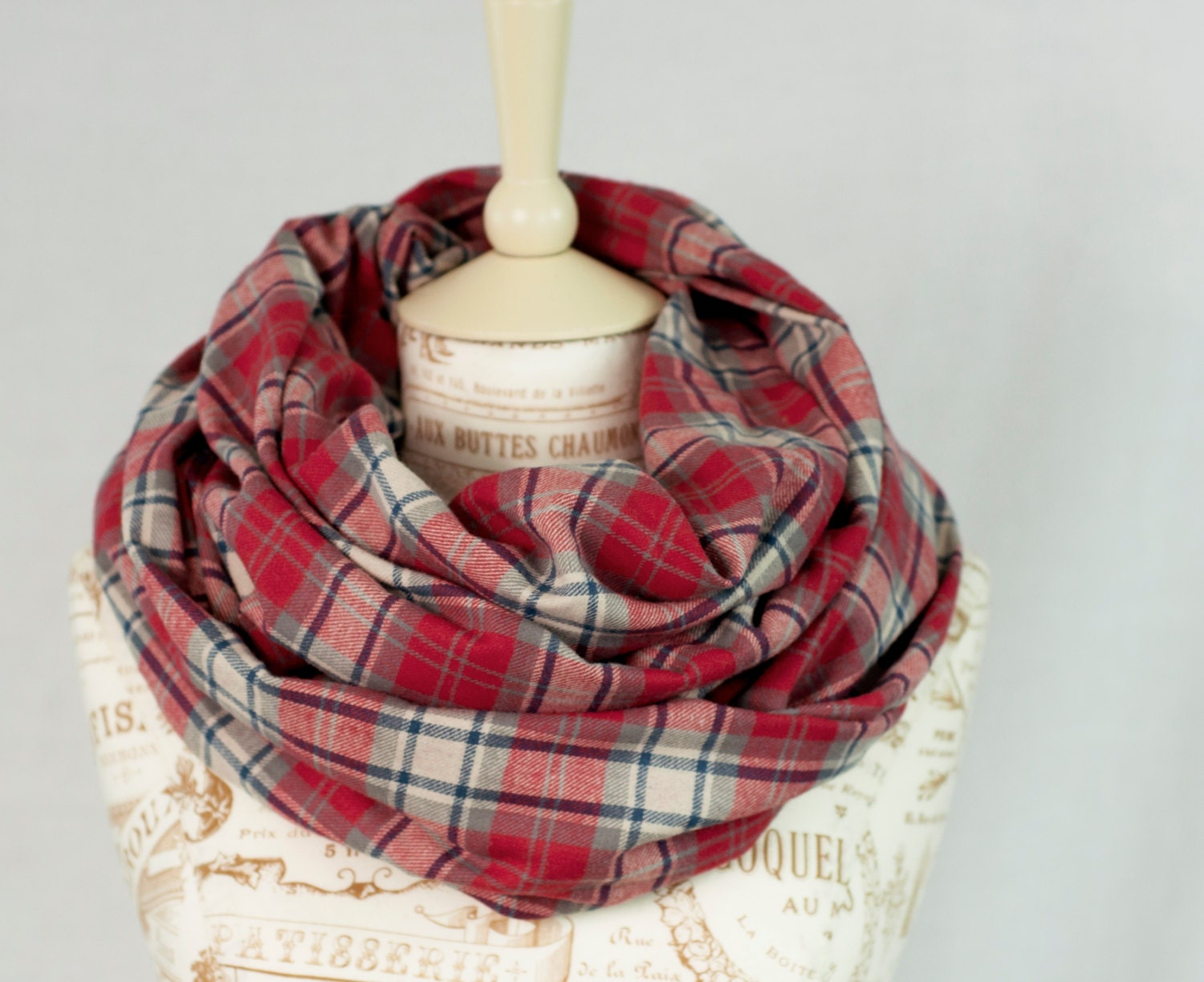 Red Plaid Infinity Scarf Red Flannel Plaid Scarf Girlfriend