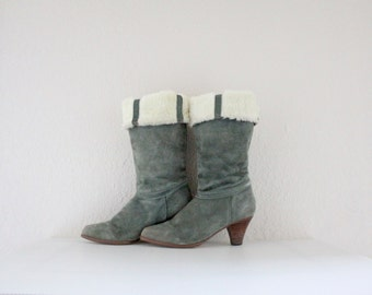 Vintage Sage Fleece Lined Suede Leather Boots Sz 7.5