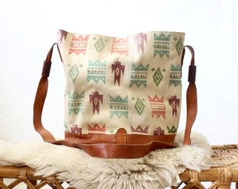 thunderbird printed leather bucket bag