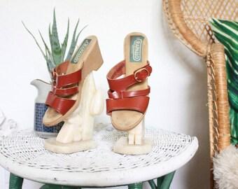 italian leather sandals/ 6 / 1970's