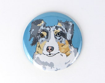 Australian shepherd fridge magnet, blue merle Australian shepherd dog button, gift for dog owner