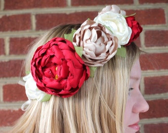 Woodland hair wreath. Crown with fabric peonies in red, champagne and ivory. Side flowers