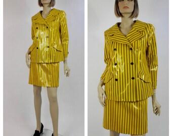 1980's Yellow Pinstriped Vinyl Power Suit - Double Breasted Ladies Plastic Suit - Glam Rock 80's Suit - David Bowie Style Suit - Size 10