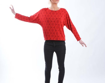 Red Textured Jersey Top with Bat Sleeves