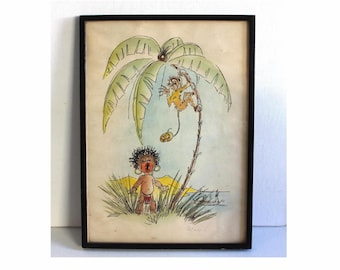 Original mid century hand drawn pen and ink watercolour book illustration. Signed by the artist