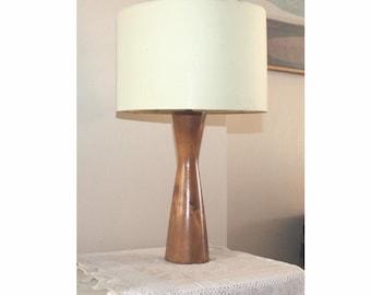 Mid Century Modern Scandinavian design wood table lamp base. Waisted wood lamp base. MCM lamp