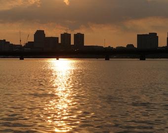 Sunrise Boston Harbor Charles River 8x12 #N8142