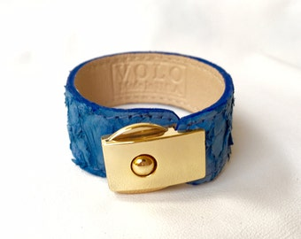 ON SALE: Electric Blue Fish Leather Bracelet