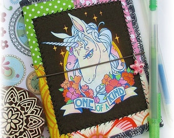 OOAK Passport or Field Notes Fauxdori, Unicorn Fauxdori, Unicorn Notebook